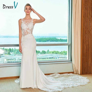 Dressv ivory elegant mermaid wedding dress scoop neck cathdarl lace floor length bridal outdoor&church wedding dresses