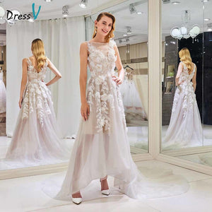 Dressv elegant a line wedding dress scoop neck appliques beaidng lace floor length bridal outdoor&church wedding dresses