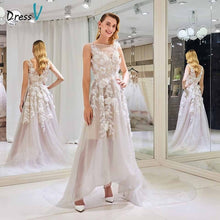 Load image into Gallery viewer, Dressv elegant a line wedding dress scoop neck appliques beaidng lace floor length bridal outdoor&church wedding dresses
