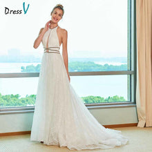 Load image into Gallery viewer, Dressv elegant a line wedding dress halter neck court train beaidng lace floor length bridal outdoor&church wedding dresses