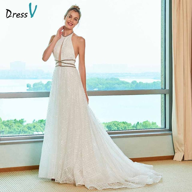 Dressv elegant a line wedding dress halter neck court train beaidng lace floor length bridal outdoor&church wedding dresses