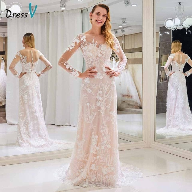 Dressv scoop neck wedding dress appliques long sleeves sheath lace button floor length bridal outdoor&church wedding dresses