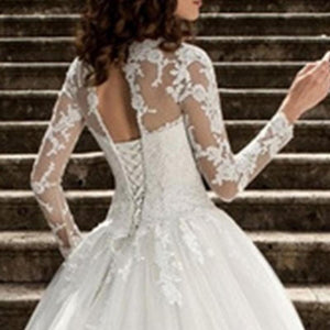 Long Sleeve Bandages White Lace Mesh Wedding Dress