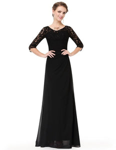 Elegant Lace Chiffon Bridesmaid Dresses Ever Pretty 8861 Autumn Long Sleeves Prom Formal Dress Black Party Gowns