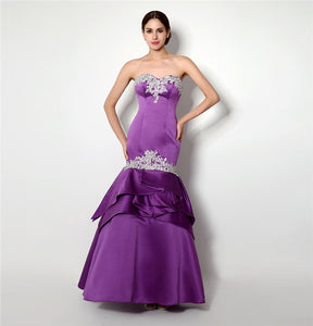 Sexy Purple Prom Dress Mermaid Sweetheart Applique Backless Long Formal Party Gown Plus Size Custom Made Cash On Delivery