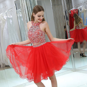 Sexy Short Prom Dress New Arrival Halter Sleeveless Beaded Party Gown Plus Size Custom Made Vestido Formatura