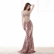 Load image into Gallery viewer, Sexy Prom Dress Gorgeous Sheer Illusion Neck Long Backless Shiny Formal Party Gown Plus Size Custom Made