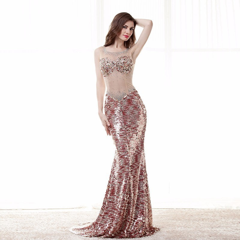 Sexy Prom Dress Gorgeous Sheer Illusion Neck Long Backless Shiny Formal Party Gown Plus Size Custom Made