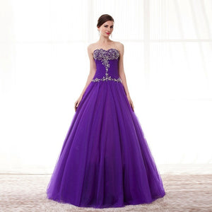 Purple PRINCESS LEAH Elegant Prom Dress - Crystal Beaded