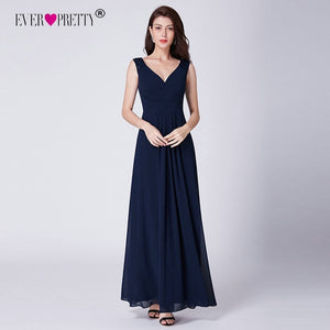 Navy Blue Bridesmaid Dresses Chiffon A-line Elegant Party Dresses for Wedding Lace Sleeveless Long Cheap Bruidsmeisjes Jurk
