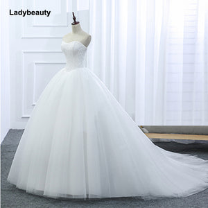 Ladybeauty Sweetheart Lace Vintage Bridal Wedding Dress 2018 Princess Court Train Wedding Dresses