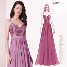 Load image into Gallery viewer, Long Bridesmaids Dresses Ever Pretty EP07392 Elegant A Line V Neck Tulle Wedding Party Gowns Sequins Vestidos De Damas De Honor