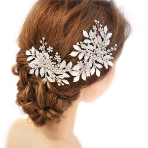 Fashion Diamond Leaves Bridal Headdress Beads Imitation Pearl Headband Vintage Hair Band Silver Headwear Wedding Dress Accessories (D2179)