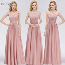 Load image into Gallery viewer, Vestido Madrinha Pink Lace Long Bridesmaid Dresses Sexy A Line Chiffon Dress for Wedding Party Robe Demoiselle D'honneur