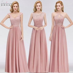 Vestido Madrinha Pink Lace Long Bridesmaid Dresses Sexy A Line Chiffon Dress for Wedding Party Robe Demoiselle D'honneur