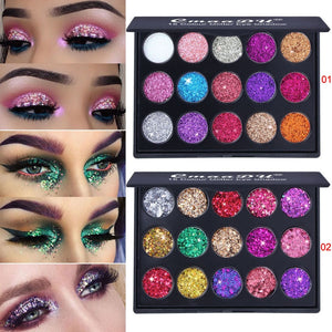 Glitter Eyeshadow 15 Color Glitter Eyes Palette