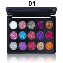 Load image into Gallery viewer, Glitter Eyeshadow 15 Color Glitter Eyes Palette