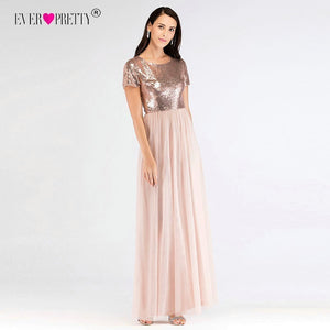 Elegant Short Sleeves Sequined Bridesmaid Dresses Ever Pretty EZ07610RG Women`s Long A-Line Rose Gold Dresses For Wedding Party
