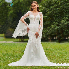 Load image into Gallery viewer, Dressv ivory mermaid wedding dress scoop neck long sleeves lace button floor length bridal outdoor&church wedding dresses