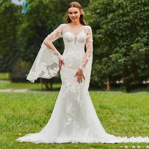 Dressv ivory mermaid wedding dress scoop neck long sleeves lace button floor length bridal outdoor&church wedding dresses