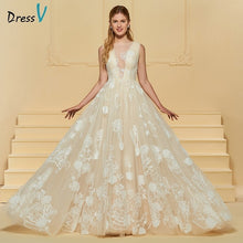 Load image into Gallery viewer, Dressv elegant a line wedding dress scoop neck button lace sleeveless floor length bridal outdoor&church wedding dresses