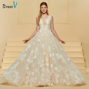Dressv elegant a line wedding dress scoop neck button lace sleeveless floor length bridal outdoor&church wedding dresses