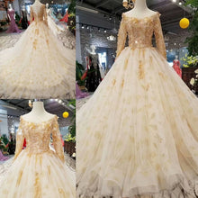 Load image into Gallery viewer, SSYFashion New Highe-end Wedding Dress Bride Luxury Champagne Long Sleeved Sweep Train Lace Flower Beading Wedding Prom Gown