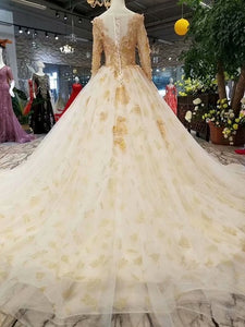 SSYFashion New Highe-end Wedding Dress Bride Luxury Champagne Long Sleeved Sweep Train Lace Flower Beading Wedding Prom Gown