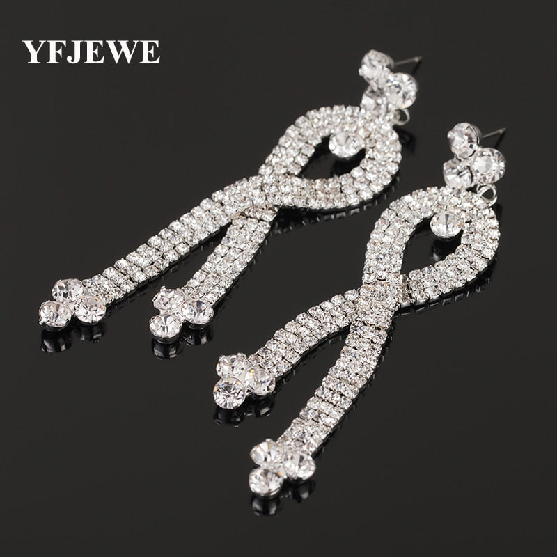 YFJEWE Luxury Wholesale New Jewelry Drop Earrings for Women Full Austrian Rhinestone Bridal Earrings Prom Jewelry Gift E356