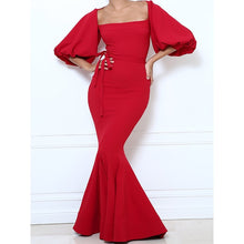 Load image into Gallery viewer, Sexy Mermaid Dress Bandage Women Lantern Sleeve Plus Size Female Solid Elegant Prom Evening Slim Stylish Red Chic Maxi Dresses