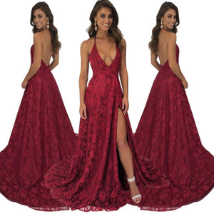 Women's Floral Lace High Split Prom Maxi Dresses Deep V Neck Backless Evening Wedding Bodycon Party Dress