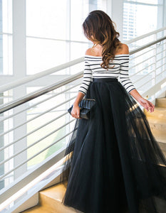 Sexy Women Tulle Lace Ball gown dress Cocktail Party Prom Long dress Striped Off Shoulders Long Sleeves Tulle Dress