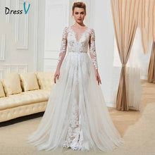 Load image into Gallery viewer, Dressv ivory elegant long sleeves wedding dress v neck appliques button floor length bridal outdoor&church wedding dresses