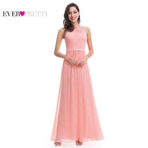 Ever Pretty Bridesmaid Dresses 08742 Pink Peach Women Elegant Beading Chiffon Sleeveless Lace Plus Size Long Bridesmaid Dresses