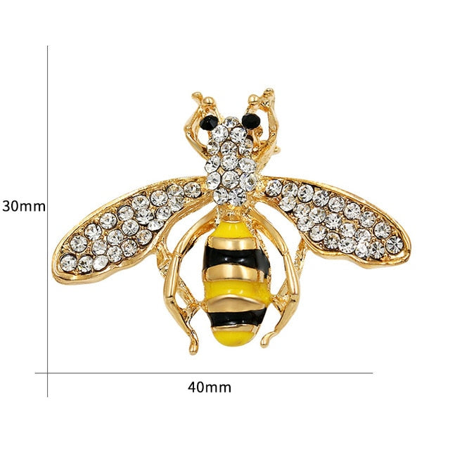 Crystal Rhinestone and Enameled Bee, Hornet Brooch Pins