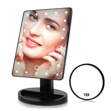 Load image into Gallery viewer, 22 LED Lights Touch Screen Makeup Mirror 1X 10X Table Desktop Countertop Bright Adjustable USB Cable Or Batteries Use 16 Lights