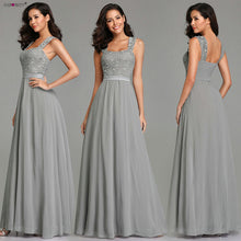 Load image into Gallery viewer, Burgundy Bridesmaid Dresses Elegant Long A-line Chiffon Wedding Guest Dresses Ever Pretty EZ07704 Grey Simple Vestido Longo