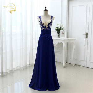 Vestido De Festa Fashion Sexy Chiffon Blue Party Evening Dresses 2019 Long Formal Prom Robe De Soiree Woman's Dress OL3102 PlUS