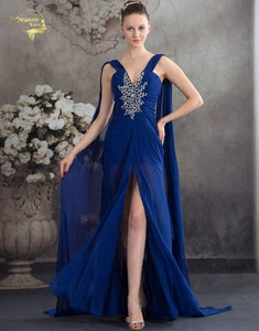 Vestido De Festa Fashion Ribbon Royal Blue Party Evening Dresses 2019 Long Formal Prom Robe De Soiree Woman's Dress OL5203 V