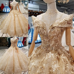 SSYFashion New High-end Wedding Dress Vingate Luxury Glold Shining Lace Appliques Beading Long Formal Prom Gown Robe De Soiree