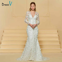Load image into Gallery viewer, Dressv elegant trumpet v neck lace wedding dress long sleeves beading floor length bridal outdoor&church wedding dresses