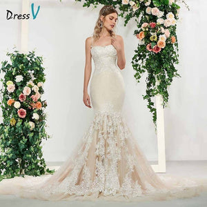 Dressv elegant lace sleeveless spaghetti straps mermaid wedding dress floor length simple bridal gowns trumpet wedding dresses