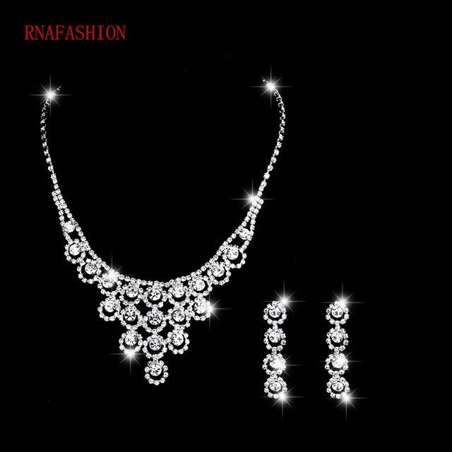 Silver Tone Crystal Fashion Prom Women's  Necklace Earrings Wedding Bridal Jewelry Sets Dress Accessories
