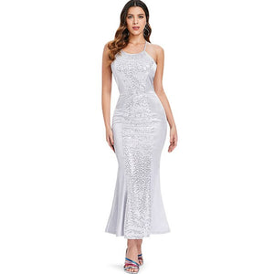 VESTLINDA Backless Sequin Prom Party Dress Women Sheath Bodycon Long Dress Sexy Vestidos Verano 2018 Elegant Maxi Ladies Dresses