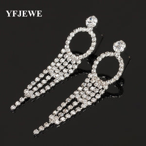 YFJEWE Luxury Big Vintage Gold Color Silver Dangle Drop Full Austrian Crystal Rhinestone Bridal Long Earrings Prom Jewelry E347