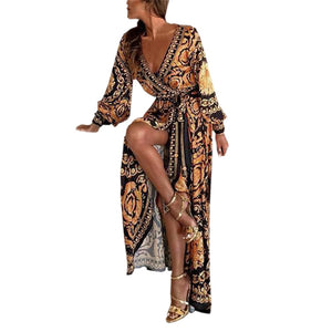 Sexy Fashion Womens Dress Long Sleeve Deep V Neck Printed Cocktail Prom Gown Dress Autumn Winter Female Sexy Bodycon Vestido