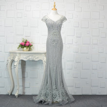 Load image into Gallery viewer, SSYFashion New High-end Mermaid Evening Dress Robe De Soire Luxury Handmade Grey Sequins Beading Floor-length Formal Prom Gown