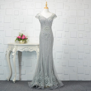 SSYFashion New High-end Mermaid Evening Dress Robe De Soire Luxury Handmade Grey Sequins Beading Floor-length Formal Prom Gown