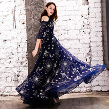 Load image into Gallery viewer, SSYFashion New Evening Dress Navy Blue Starry Pattern Soft Tulle Floor-length Prom Gown Custom Formal Dresses Robe De Soiree