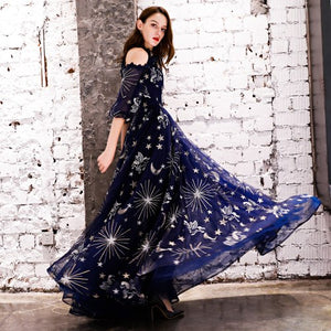 SSYFashion New Evening Dress Navy Blue Starry Pattern Soft Tulle Floor-length Prom Gown Custom Formal Dresses Robe De Soiree